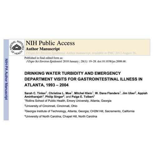 美國亞特蘭大市飲用水的濁度指標及胃腸道疾病關係